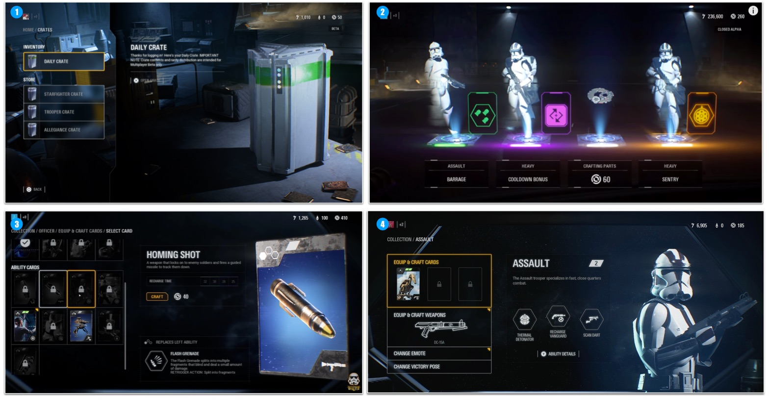 The progression design in a nutshell: Players earn Credits by playing matches. Credits are used to purchase Loot Crates. Loot Crates contain Star Cards. Star Cards are equipped on characters to boost or replace abilities. Star Card can be unlocked and upgraded with Crafting Parts.