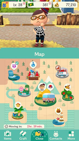 ^ There are various locations you can visit in the game. The animals move around  every couple of hours, and the items you can find vary depending on what time of day it is.