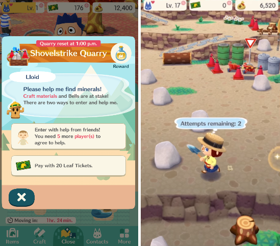 The Shovelstrike Quarry is a time-locked area, which requires the player to assemble friends or spend their leaf tickets.
