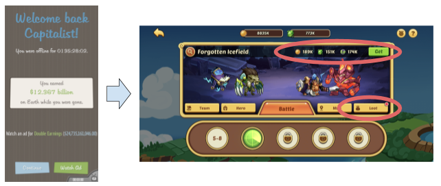 Example idle progress collection in AdVenture Capitalist vs. Idle Heroes
