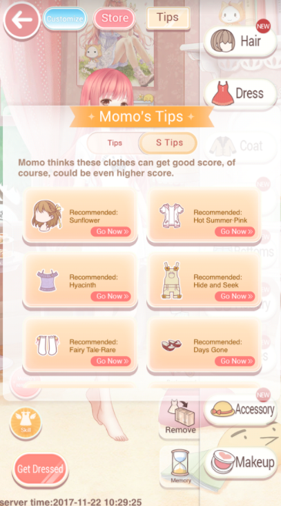 Tips appear only in Maiden missions, but for Princess missions the same clothes also work