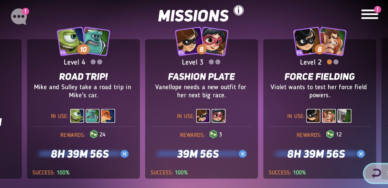 Missions are set timers to increase friendship levels