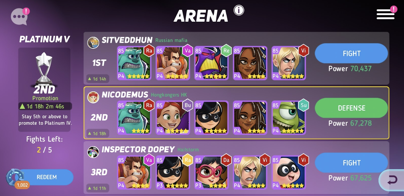The arena, the one-versus-one player mode
