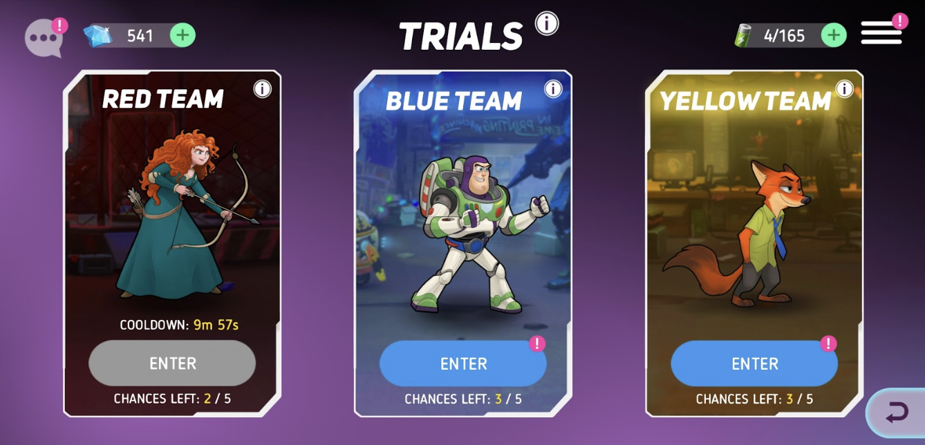 In the trials, only heroes in the same team can battle for rare badges