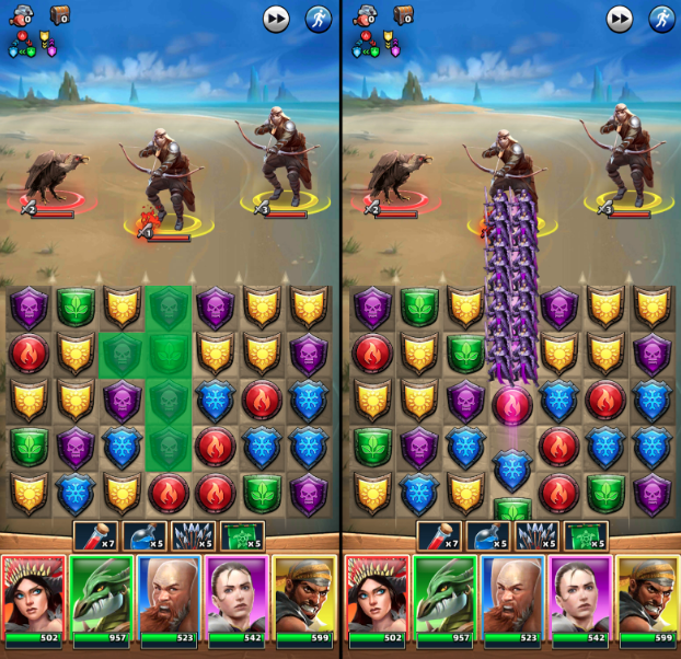 Matching gems in columns sends troops upwards to attack the enemies above.