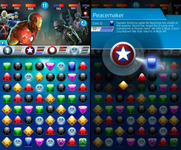Bandai's Marvel Puzzle Quest, still alive and (somewhat) kicking.