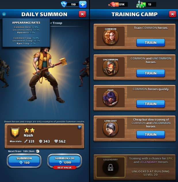 Hero summoning and training (epic and elemental summons not pictured).
