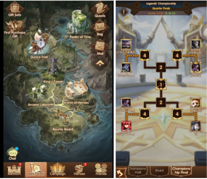 Campaign and other single player progression (right) is unlocked visibly and guidedly, whereas PVP-motivated progression, such as championships, have to be dug from deep within the game