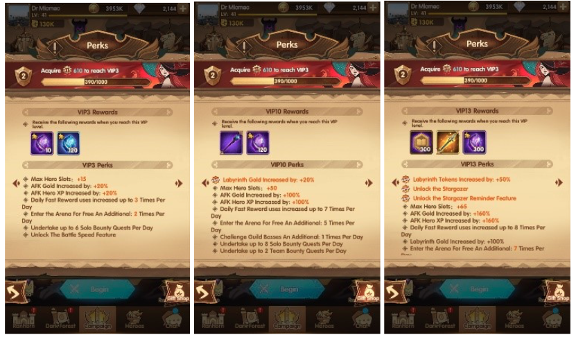 Higher VIP level gives not only significant passive bonuses, such as bigger rewards from AFK Timer or larger amount of Hero slots but also gameplay bonuses, such as ability to speed up the battles.