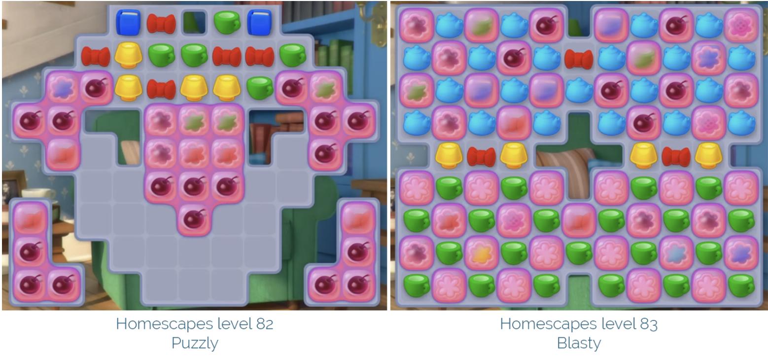 Puzzle vs. Blast levels (start state)