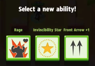 Selecting an ability on level up.