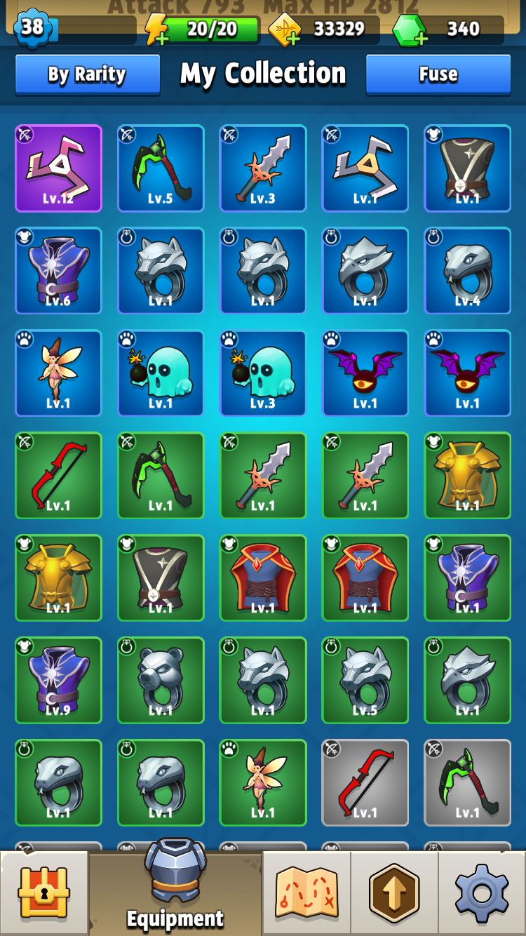 Archero's item inventory screen.