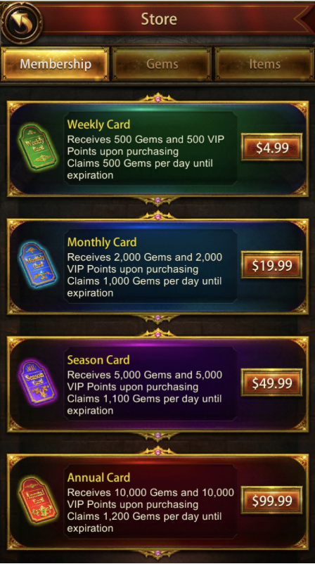 Evony is an example of a subscription model that misses the mark. If offers multiple different purchase points of which none gate premium experience.  source:  GameRefinery