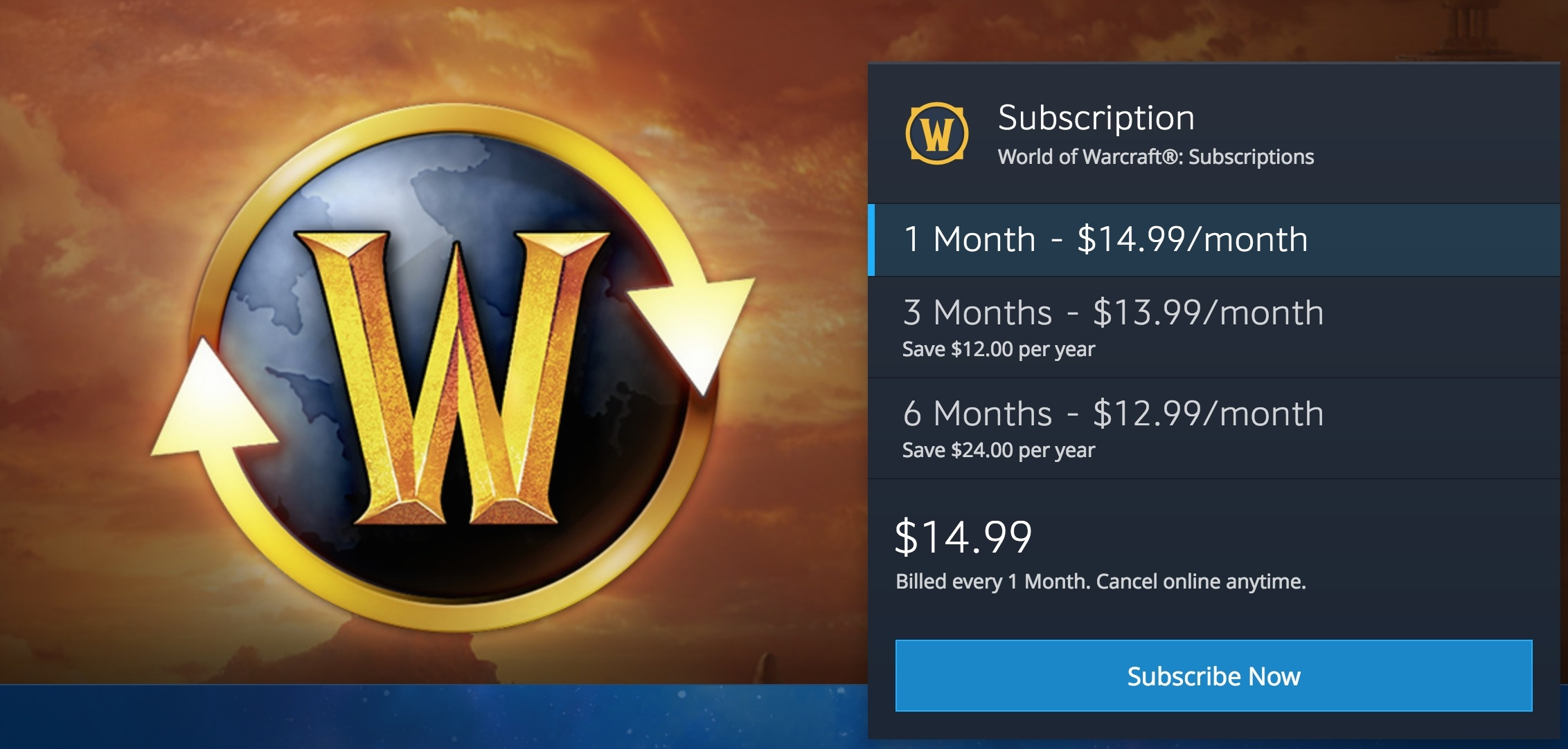 World of Warcraft has a very simple subscription model that emphasises the value of longer contracts without creating an overwhelming cognitive load.