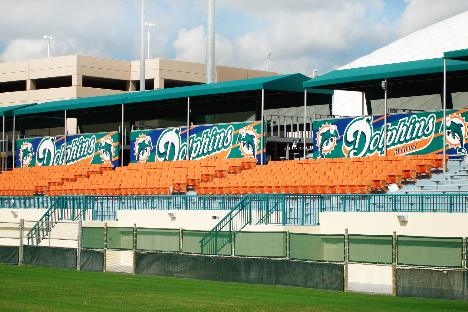 Metro Signs provides large field graphics for the Miami Dolphins training facility.