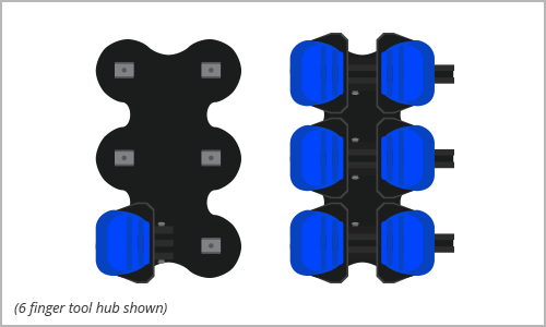 STEP 1    Select  tool hub based on the number of actuator modules you want to use to grasp the object. Attach each actuator module to a rail section using the 7mm nut driver (leave loose) and then fasten each rail to the tool hub using the 2.5mm hex screwdriver (fully tighten).