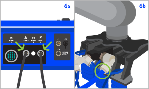 STEP 6    6a: Connect  a source of clean, dry compressed air to the  P  supply port (push to connect) of the SRCU G2 using the provided 12mm tubing.   6b: Connect  the 10mm manifold port of your custom tool to the 12mm  A  output port of the SRCU G2 using the provided 10-12mm push to connect coupler. Optimal performance is obtained by minimizing the length of the 10mm tube section.