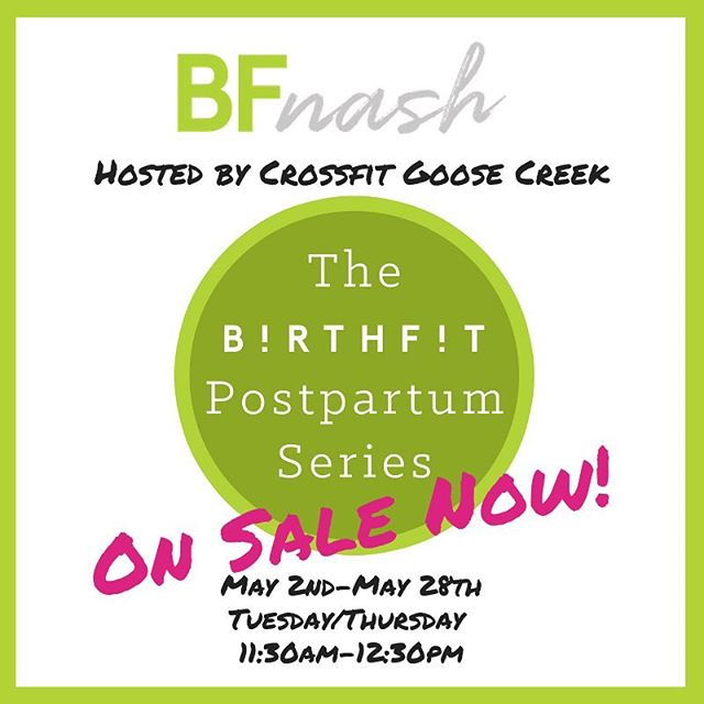 ::POSTPARTUM SERIES at CROSSFIT GOOSE CREEK SCHEDULE:: Thursday May 2 11:30-12:30 Tuesday May 7 Thursday May 9 Tuesday May 14 Thursday May 16 Tuesday May 21 Thursday May 23 Tuesday May 28 **plus a make up class** Sign up through the link in our bio or visit www.BIRTHFITNashville.com/new-events . . . . #postpartum#mombod#strongasamother#birthfit#fitness#nutrition#mindset#connection#crossfitgoosecreek#franklintn @crossfitgoosecreek #crossfitgoosecreek #postpartumisforever #franklinmom #nashvillemom #nashvilleparent #dns
