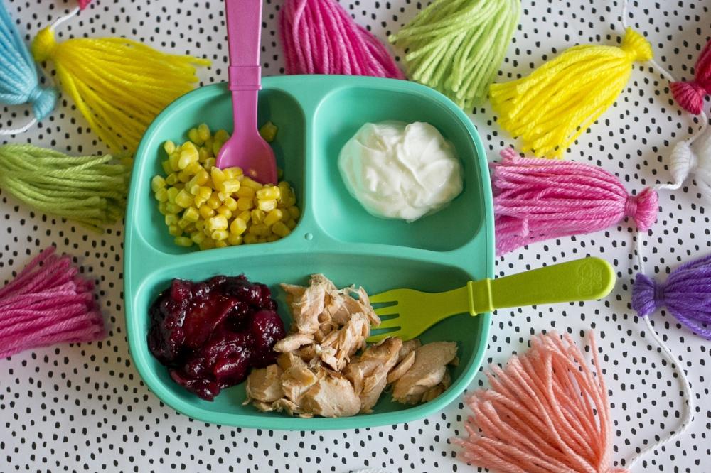 Healthy Kids Meal Ideas- Salmon, Cranberry Chutney, Greek Yogurt & Corn