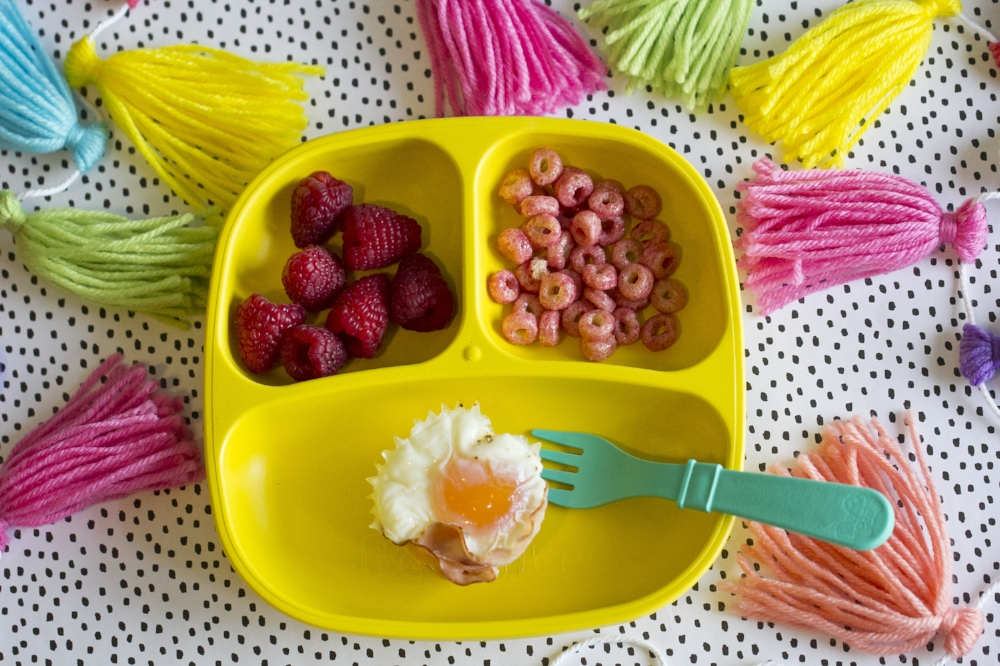 Healthy Kids Meal Ideas-Egg and Bacon Muffins, Raspberries, Cereal