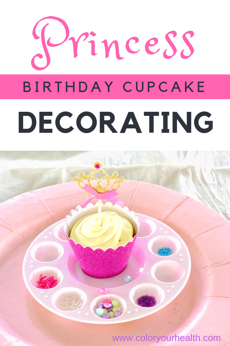 Princess party dessert idea: decorate your own cupcake with endless sprinkle choices!