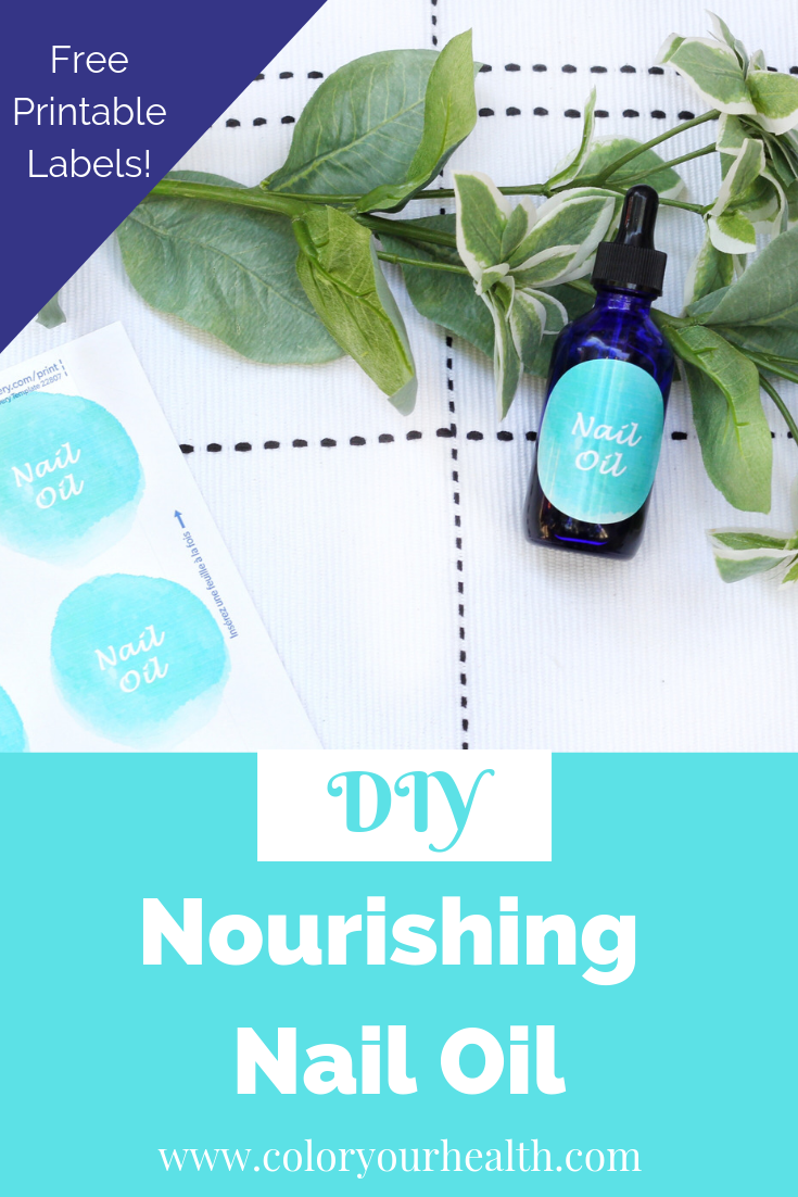 This DIY natural nail oil recipe uses Vitamin E and essential oils to hydrate and moisturize the nails! Free printable labels included!
