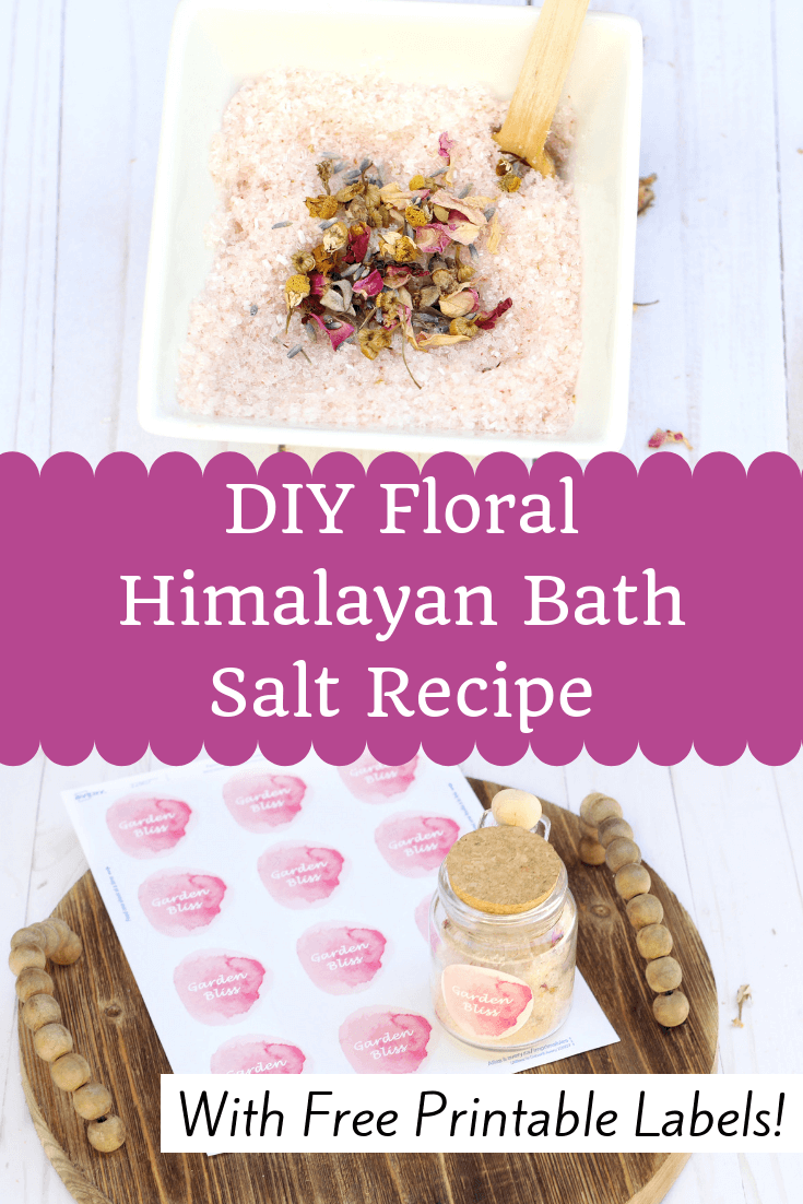 An easy DIY Himalayan Floral bath salt recipe that uses essential oils and Rosehip Oil for a nourishing and luxurious bath experience. Free printable labels for Mothers Day or Teachers Gifts!