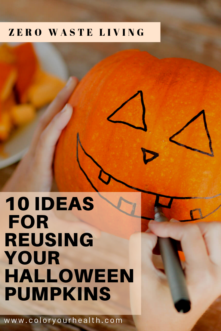 Ideas, tips, and recipes for recycling and reusing your Halloween pumpkins after the holiday is over! Inspired by eco friendly and zero waste living!
