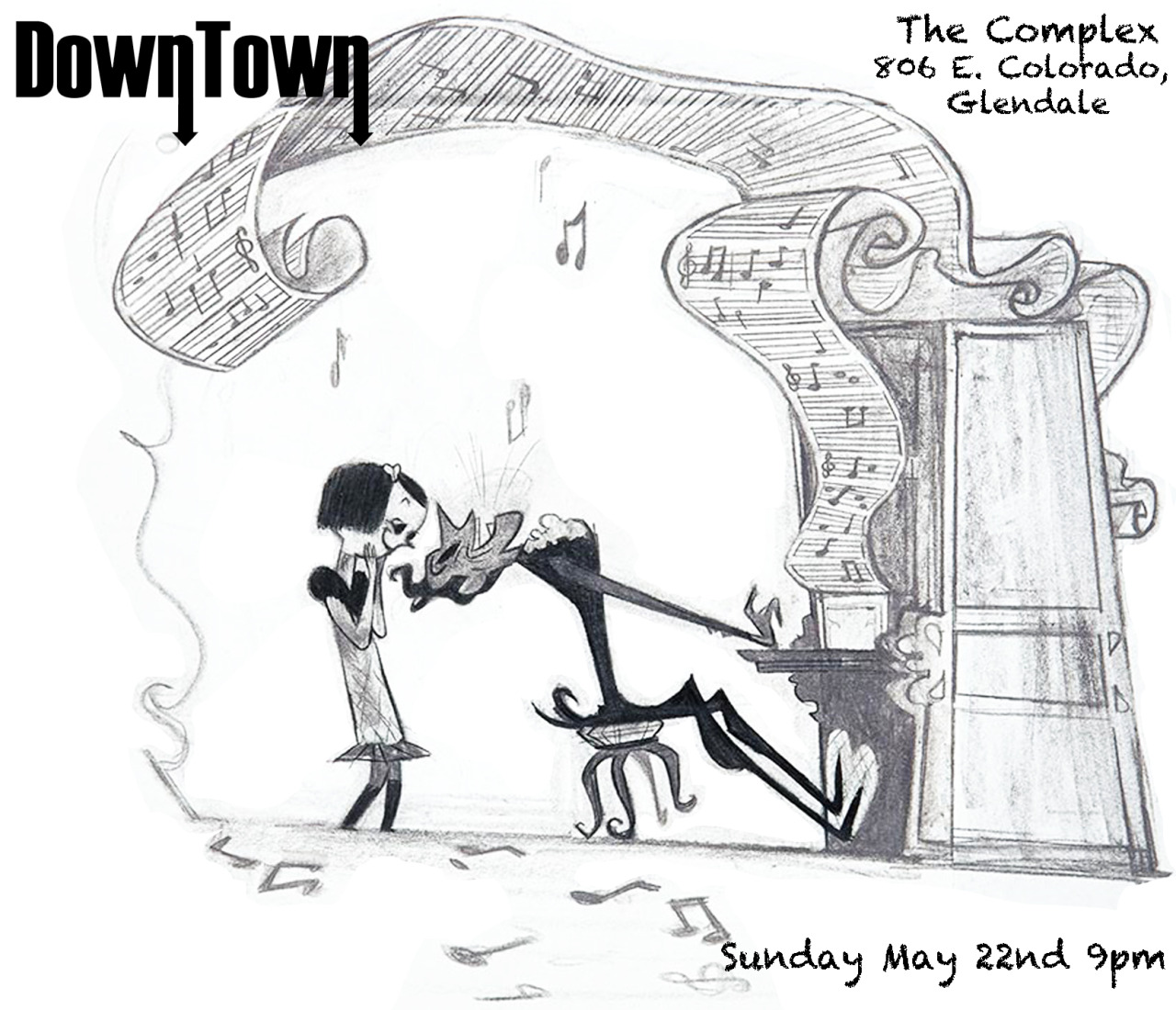 VENUE CHANGE:  The Complex in Glendale are experienceing some venue difficulties, so we have moved the show to good ol'  Molly Malones ! We'll see you and that giant painted lady on the wall on Sunday!   Downtown is taking you to church! Or, at the very least, playing on a Sunday night! Come join us and dance away your weekend! Show starts at 9 PM! We'll see you there!