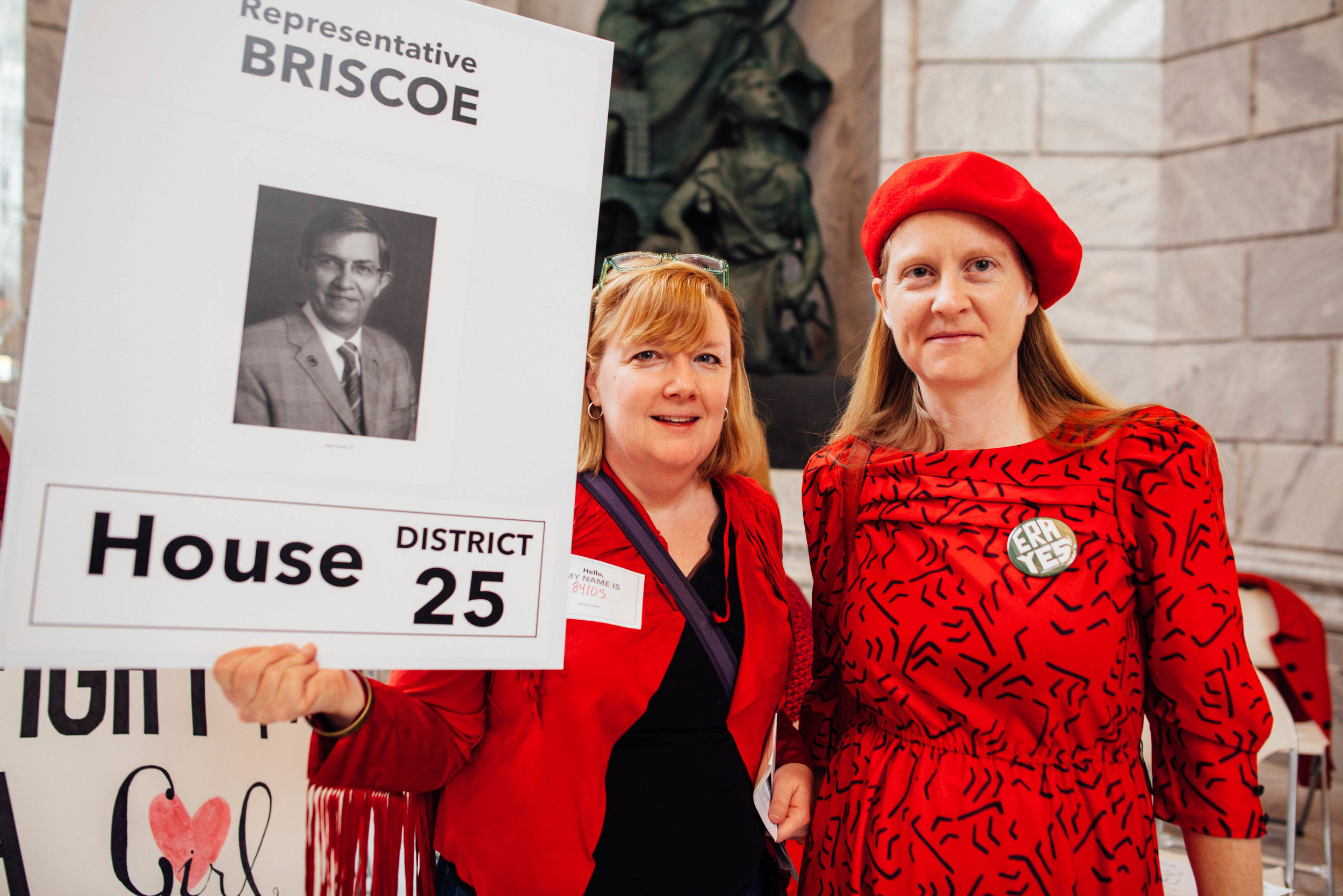 """Jen Simonds (left) and Brenda Sieczkowski (right), both residents of Salt Lake CIty, said even though they belong to the most liberal district in the state, they still wanted to add their voice to the cause for women's rights. Sieczkowski said, """"they like numbers they can quantify,"""" and so she will be part of the 35% of Utah progressives who will speak up."""