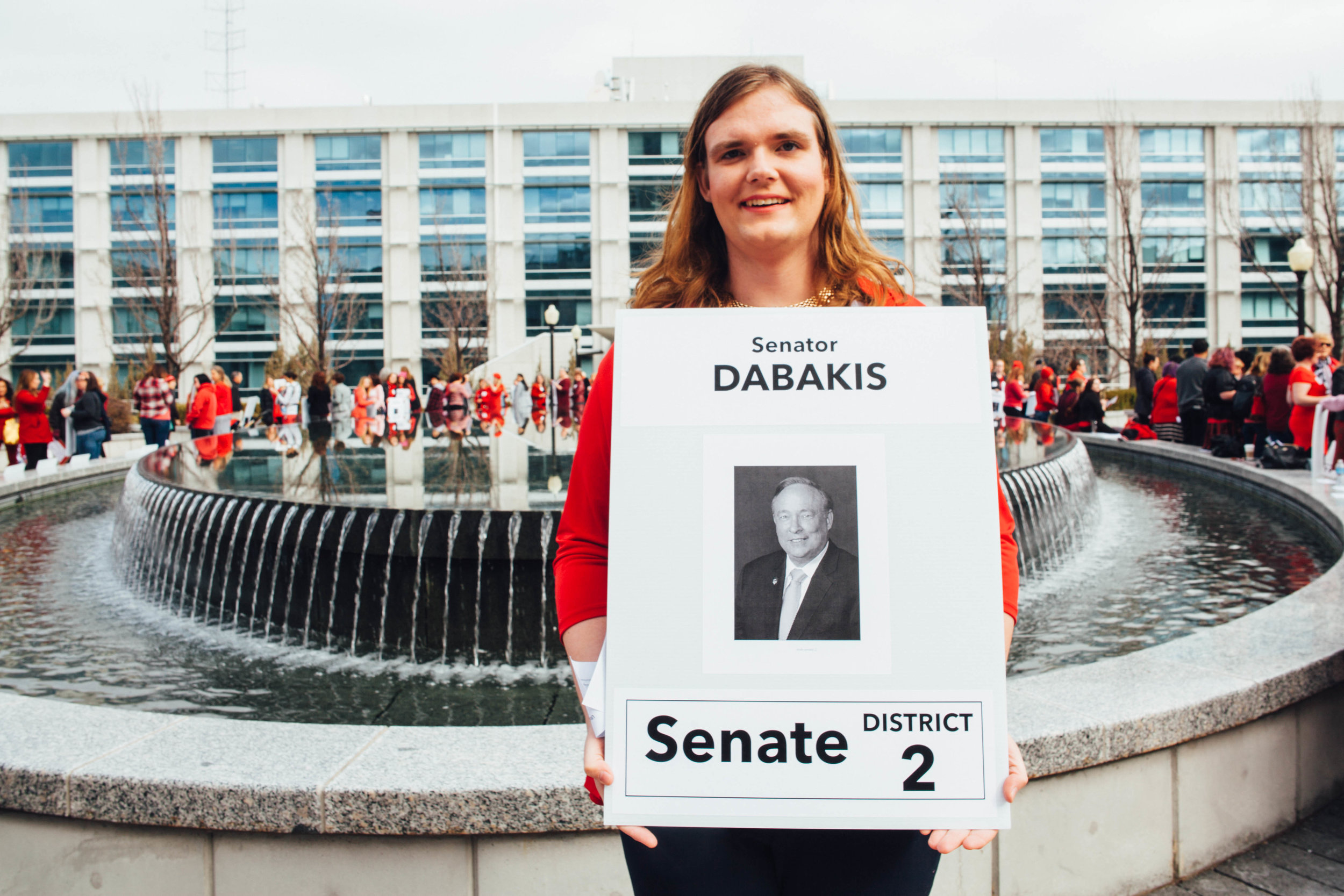 Misty K. Snow, a Democratic candidate for the Utah senate in 2016 and the first transgender woman to appear on a ballot in Utah for senate, attends the activities at the Capitol.