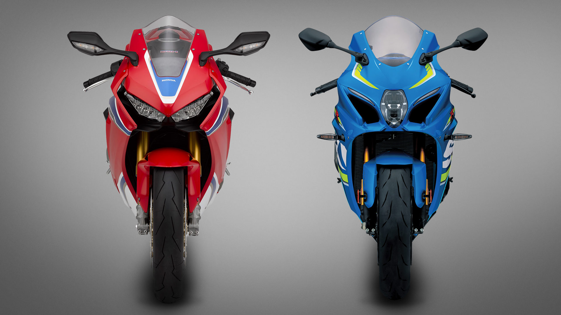From the front, the flatter lights of the Honda suit its slightly bulkier fairing, whereas the slim Suzuki has a pucker central headlight with running light accents.