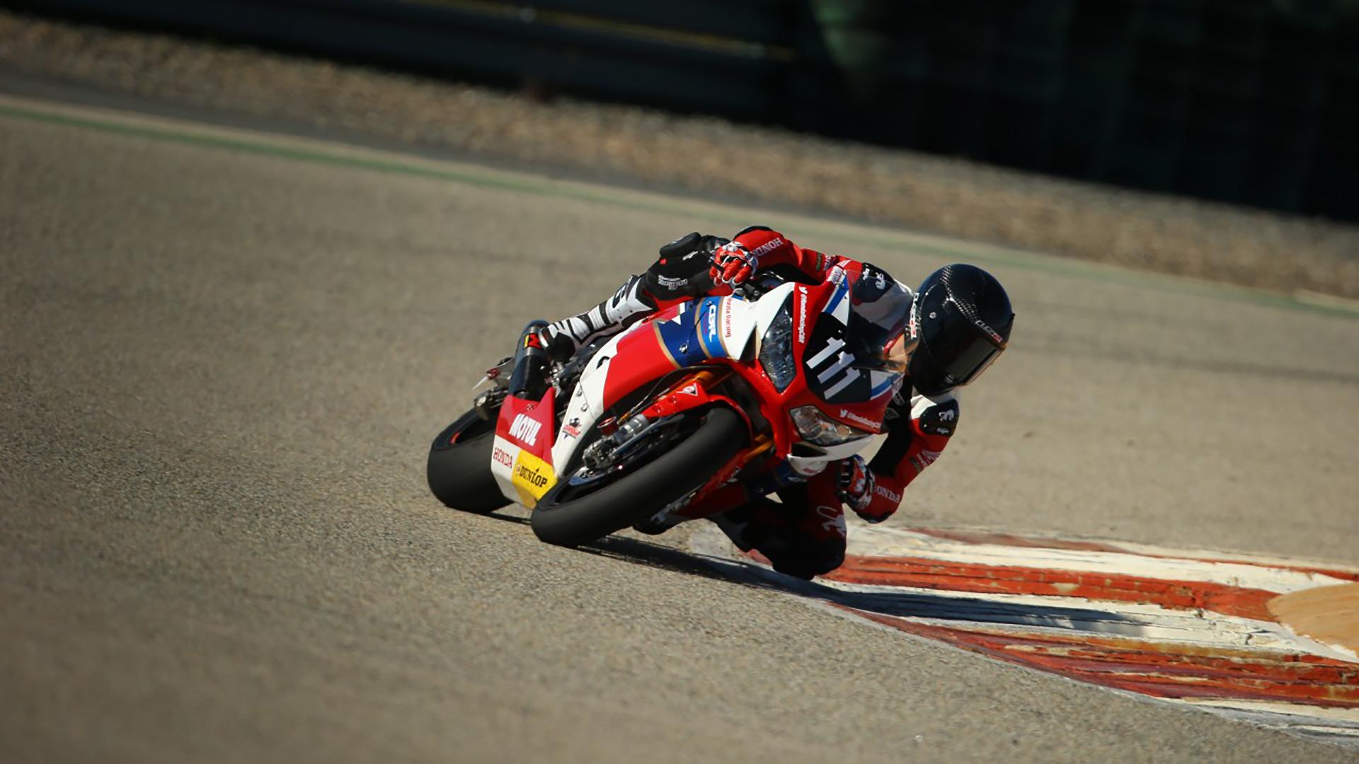 HRC Endurance rider Julien Da Costa hitting the apex in pre-season testing. Photo: Honda