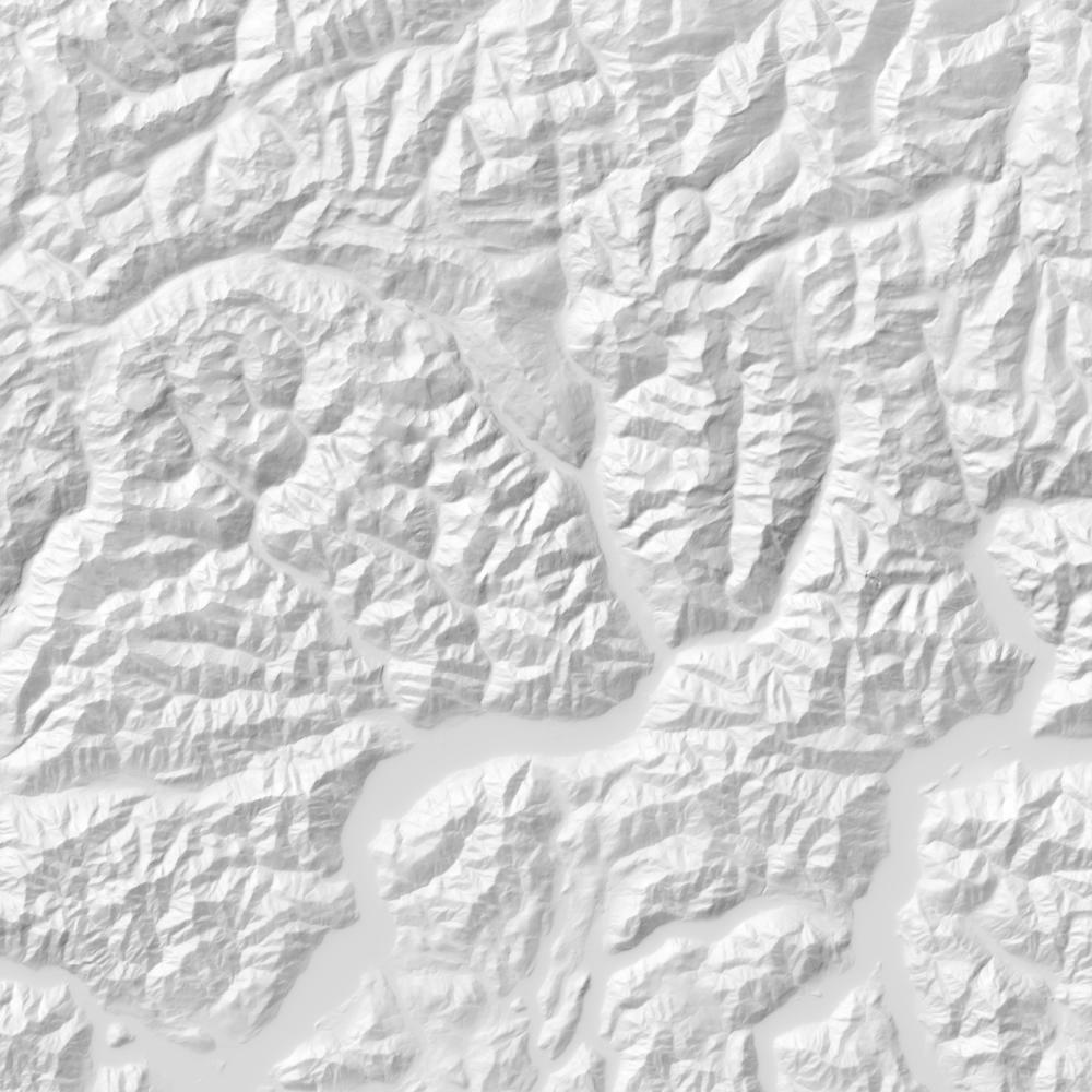 Shaded relief map of Graubünden, Switzerland.