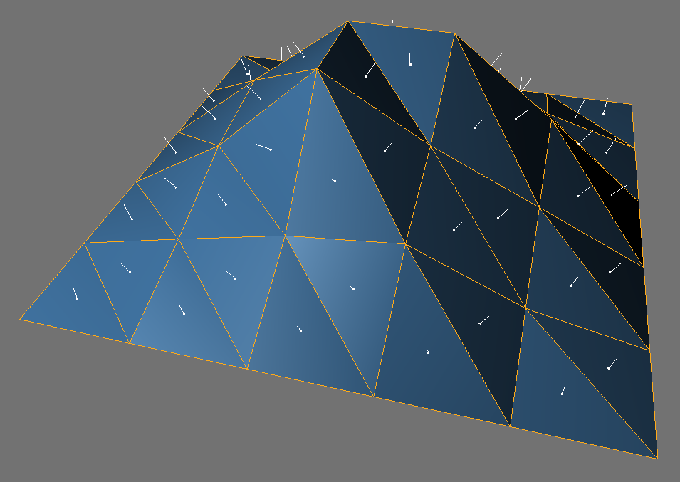 An extremely low-resolution terrain. The surface normals are the short white lines at the center of each polygon. They point in the direction the polygon is facing. For example, the normal to the dark polygon at top center has components 0.504, -0.001, 0.863 (that is, the normal points 0.5 units east, a negligible amount south, and 0.86 units up;the overall length of the normal is 1 unit).