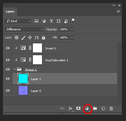Final layer stack using adjustment layers. Also, I've circled the adjustment layer menu on the layer palette.
