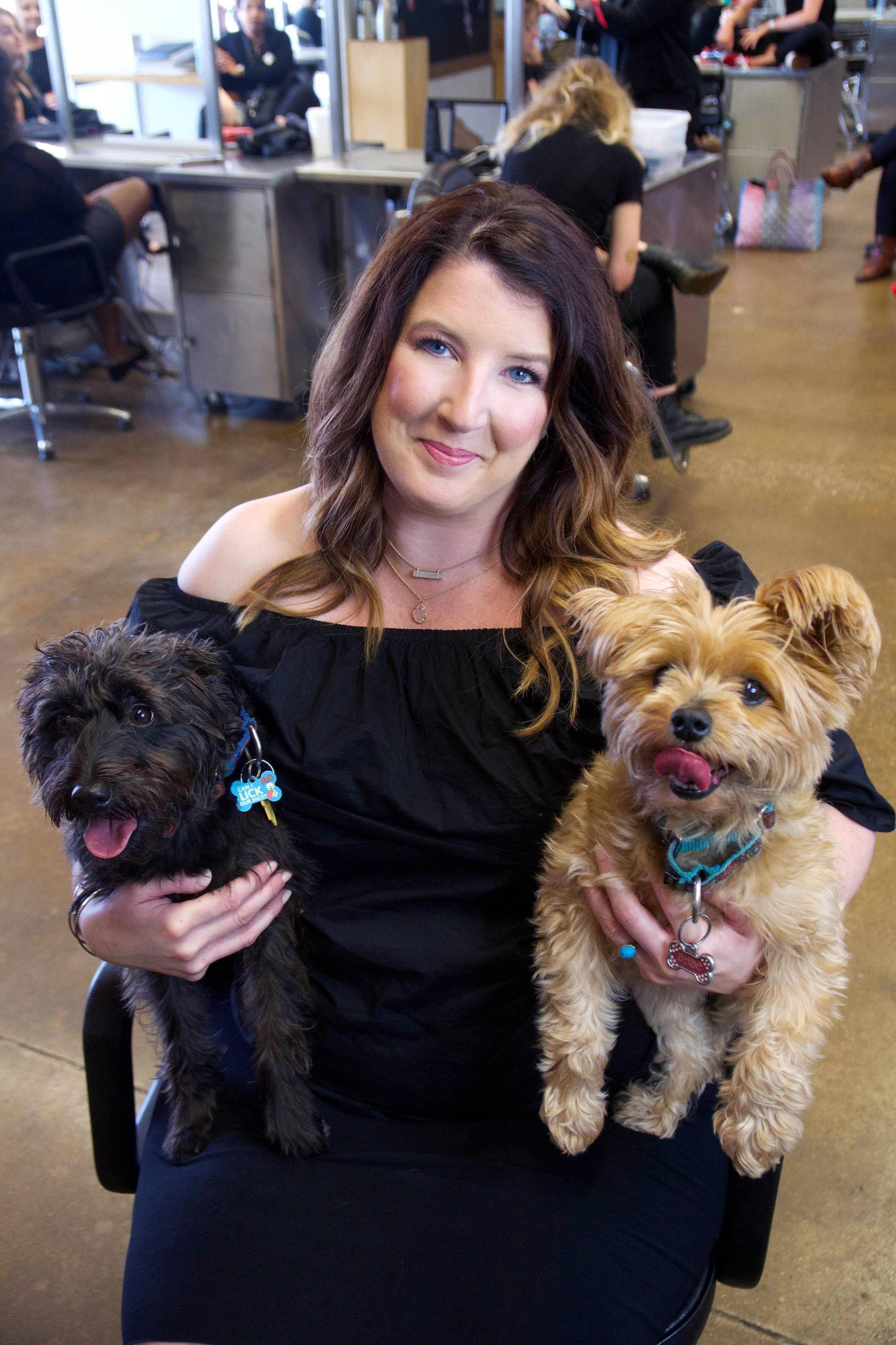 Angela and her two dogs: Babe and Harley!