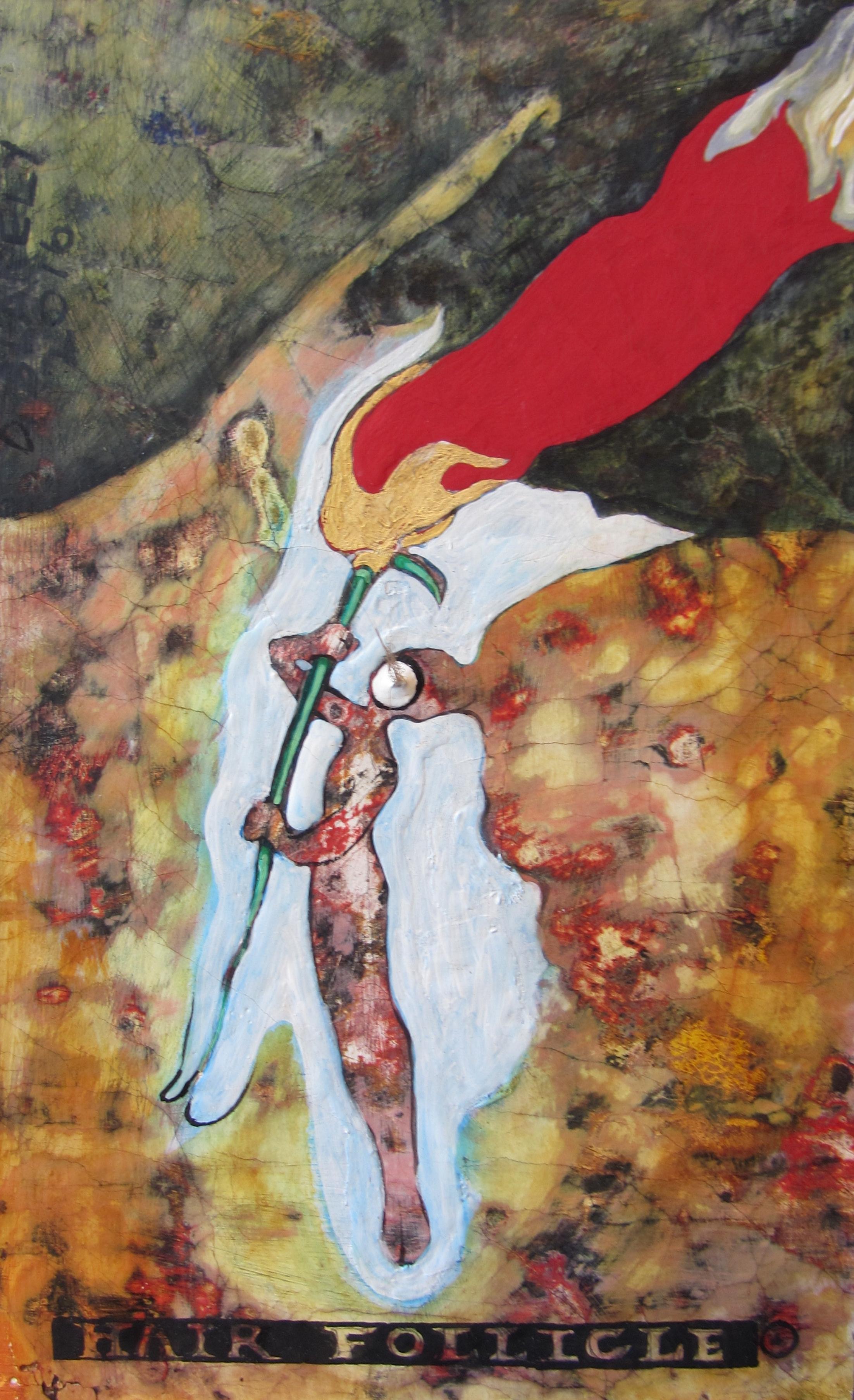 """""""Gaia as Hair Follicle"""" oil, egg tempera, bear hair and gold leaf on linen. 8""""w x 12""""h, 2016"""