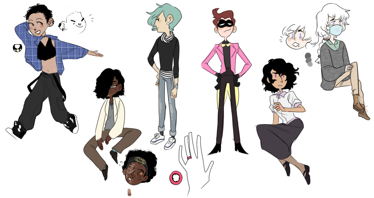 Date or Die demo work continues, but in the meantime, here's some drawings of the cast we've announced so far!