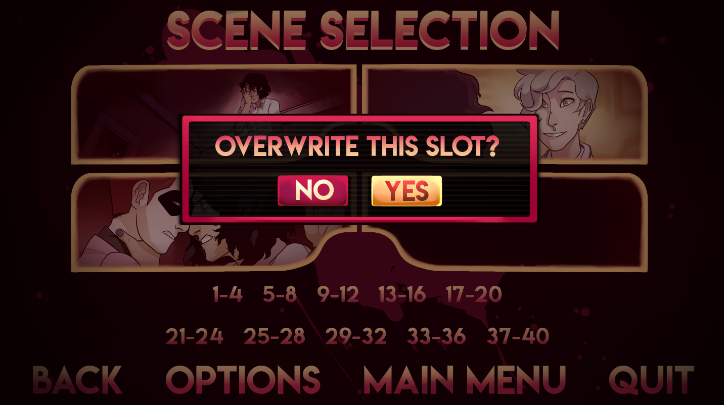 A glimpse of our scene selection screen!