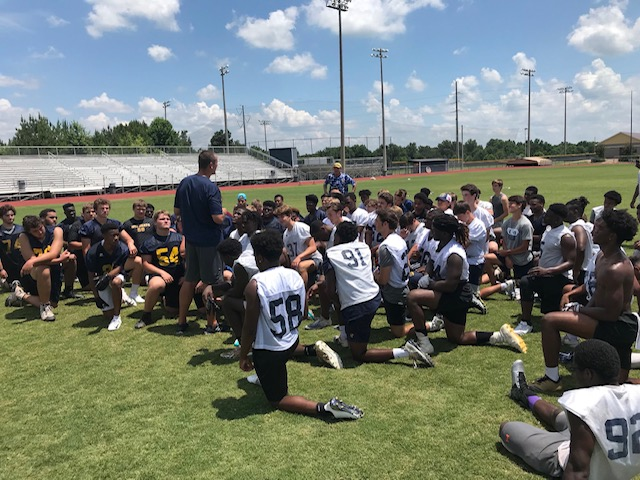Coach Miller speaks to a group of Showcase attendees after a workout in the 2018 Summer.