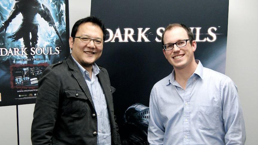JK with Dark Souls creative director Hidetaka Miyazaki at FromSoftware HQ in Tokyo (2012).