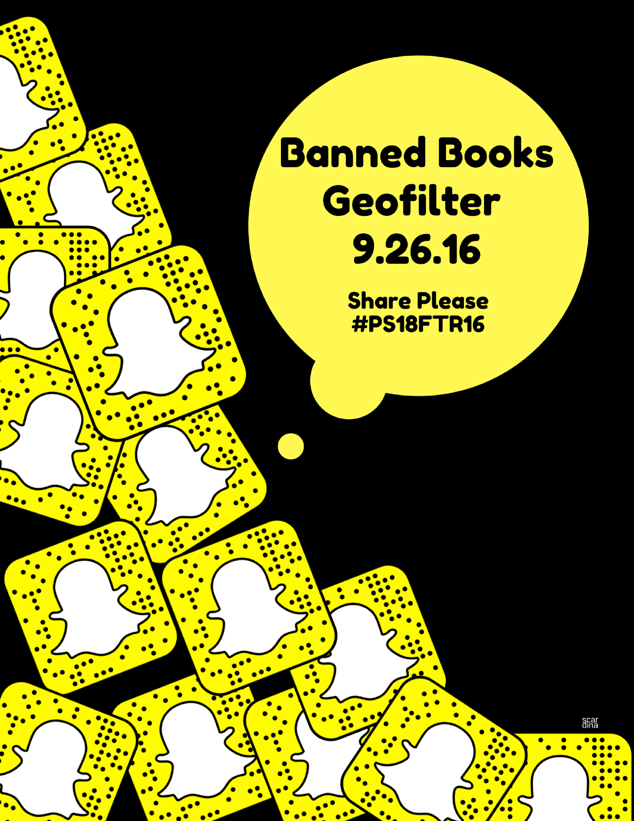 Geofilter Poster - I designed a Snapchat geofilter (see pic below) that ran for the entire first day of Banned Books Week. This is the ghost code for the library's Snapchat account.