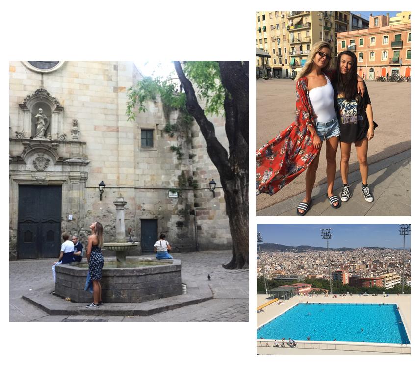 Standing in Placa Sant Felip Neri. Myself in Kelly in La Barceloneta, Pool ontop of Montjuic.