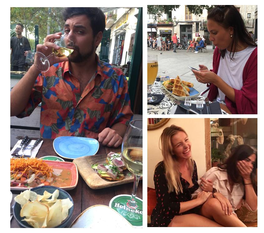 Very attractice boyfriend eating tuna patacones at FOC, Tilda at Aslur cafe and Raquel & myself at La bodega del Notariat