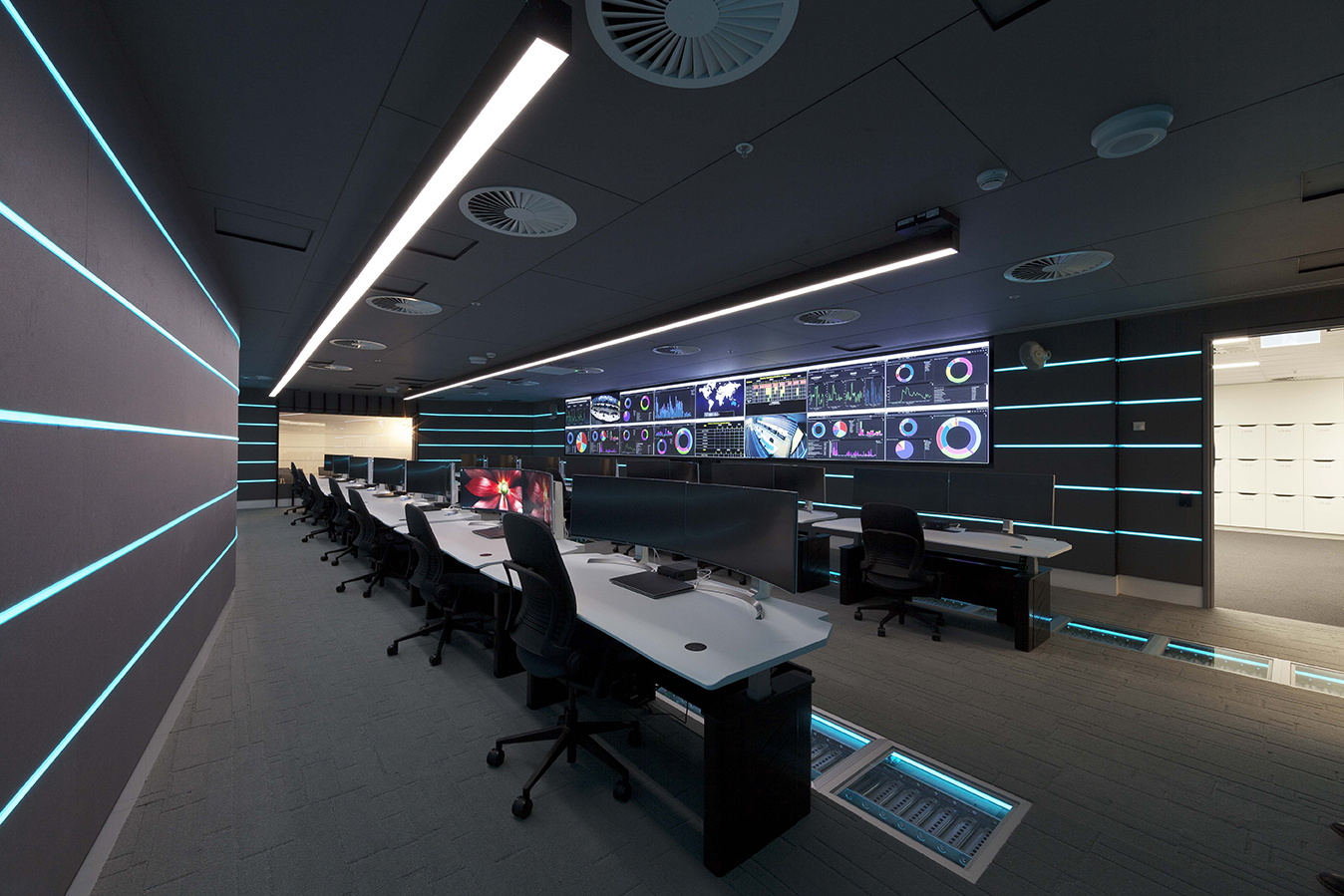 All AV equipment (Computers, Monitors, Screens) and materials used had to comply with strict ASIO Guidelines. Tall Architects are one of the few architectual firms in Australia with demonstratble experience working to defence standards.