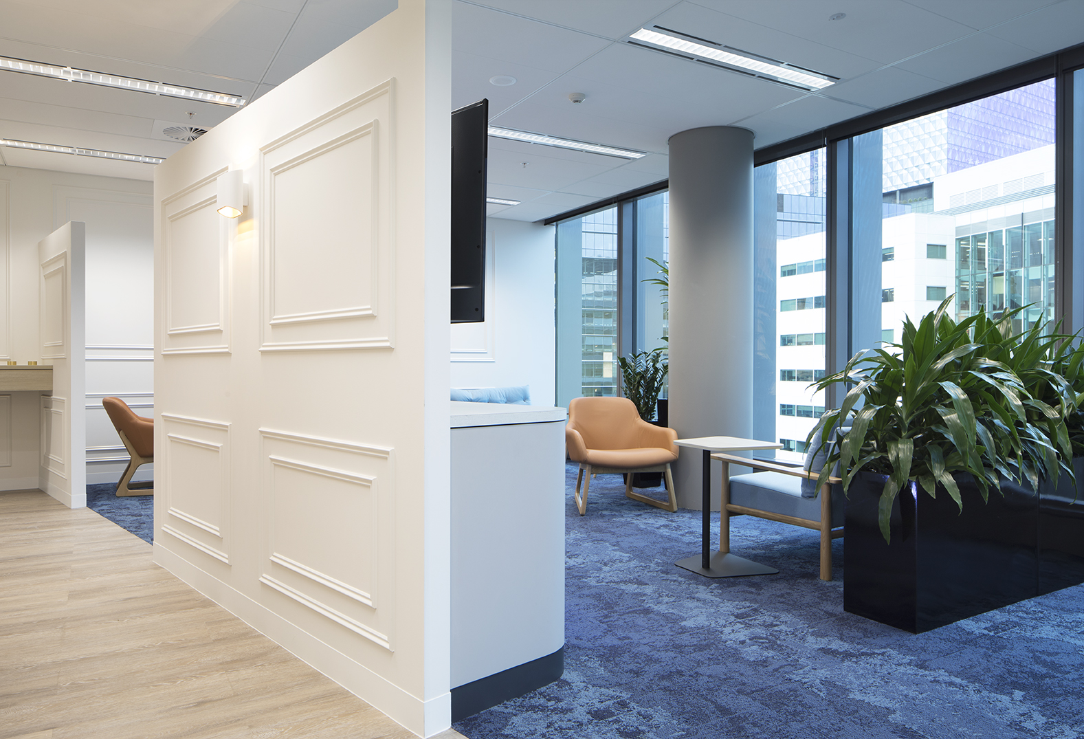 Breakout areas are designed to take advantage of natural light.