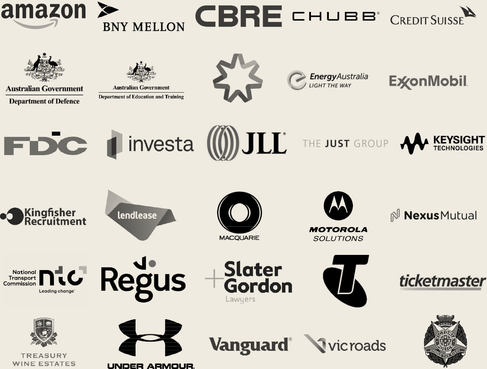Logos of the clients we have worked with including Amazon, Exxon Mobil, Vicroads, Under Armour, Schavello and the Salvation Army.