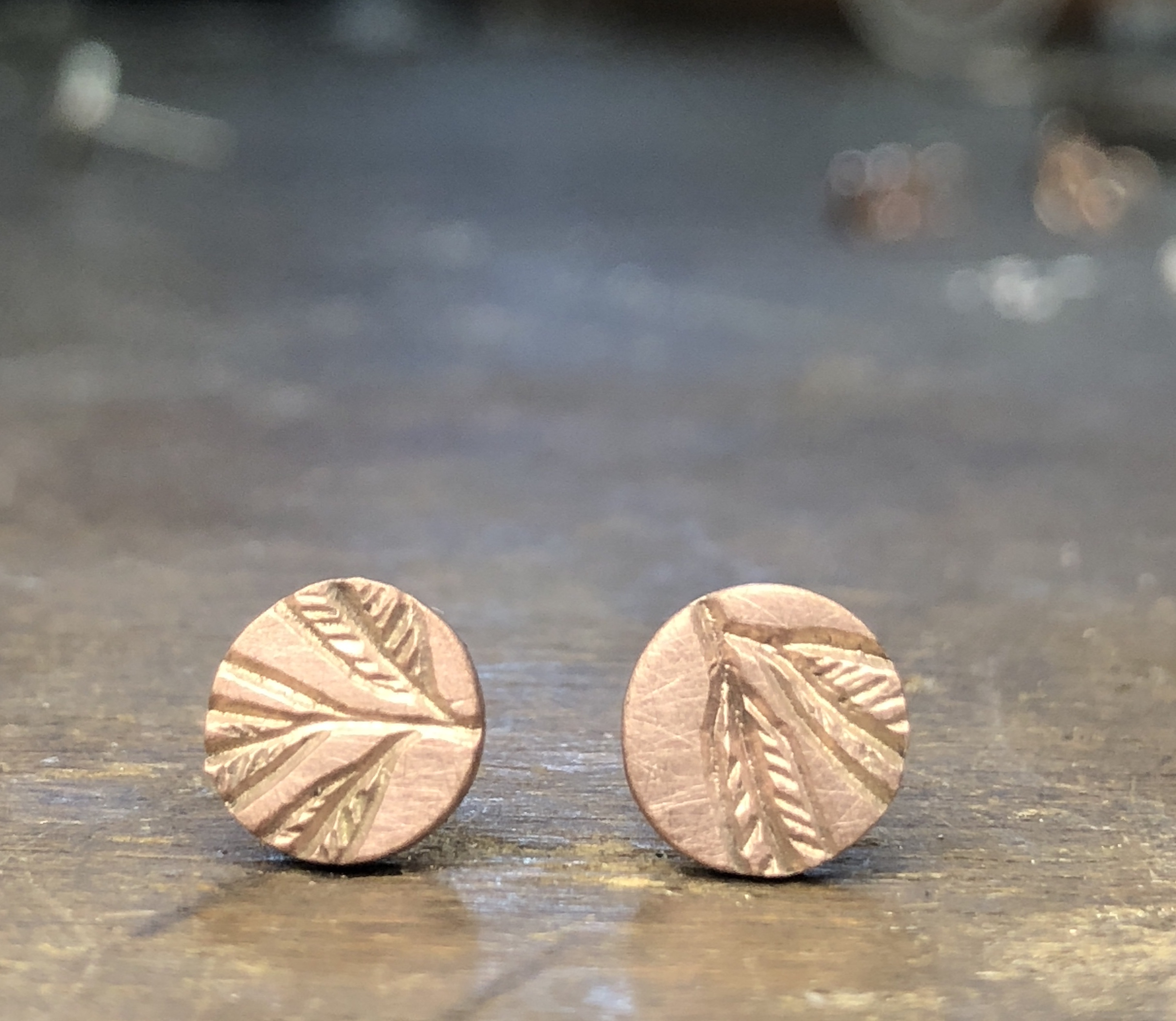 9ct rose gold stud 'eucalypt'