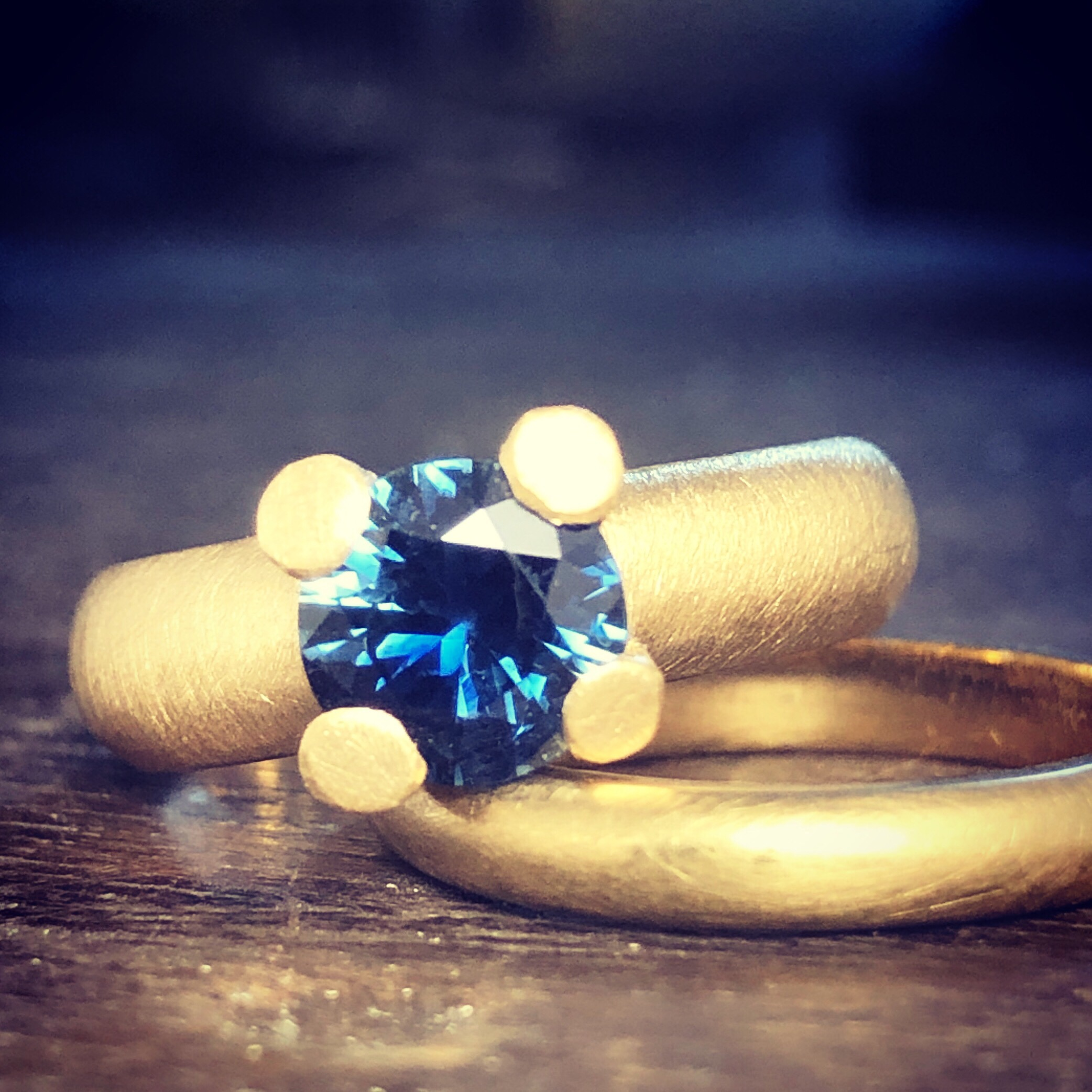 I dropped off this 18ct yellow gold castle ring with a stunning Australian blue Sapphire as a new stock piece for Studio Ingot and it walked out the door to a new home that very same day! You rock ingoteers!